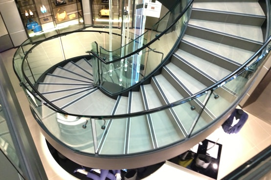 Bent and Curved Glass Feature Stair